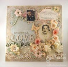 a scrapbook page using lots of @Spellbinders floral dies
