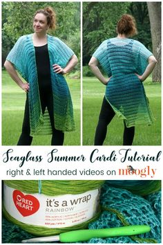 Beginning Crochet The Seaglass Summer Cardi is a simple, one size fits all pattern that is easy enough for even beginning crocheters to make! Especially now that there are right and left-handed tutorials on Moogly! Make your own easy summer layer with Kimono Pattern Free, Crochet Cardigan Pattern, Crochet Jacket, Easy Crochet Patterns, Crochet Shawl, Crochet Designs, Moogly Crochet, Crochet Shrugs, Crochet Ideas