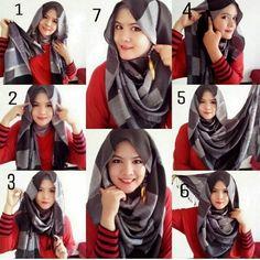 Beautiful & Easy Hijab Tutorial For Winter Tutorial Hijab Pesta, Simple Hijab Tutorial, Pashmina Hijab Tutorial, Hijab Style Tutorial, Scarf Tutorial, Modern Hijab Fashion, Muslim Fashion, Islamic Fashion, How To Wear Hijab
