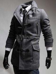 Pockets Solid Color Uniform Cloth Handsome Men's Coat - Milanoo.com