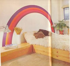 shag bed with rainbow