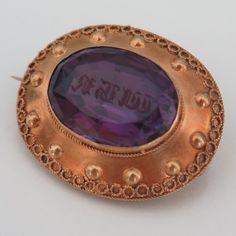 Antique Victorian Etruscan Revival 18k Gold Amethyst Monogram Seal Brooch Pin