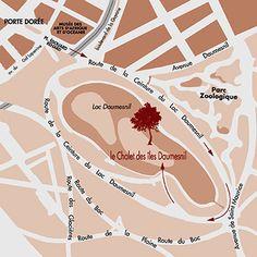 Le plan d'accès au Chalet des Iles Daumesnil