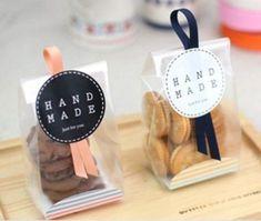 50 unids translúcido helado galletas bolsas, bolsas de galletas, bolsas de regalo, maquillaje bolsas largas con atasco de papel 23 * 8.5 * 6 cm