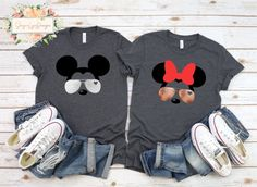 Couple Minnie Mickey Shirt, Disney Couple Shirt, Cute Couple Shirt, His and Hers Disney Shirt, Mickey Minnie Sunglasses Shirt Cute Couple Shirts, Disney Couple Shirts, Disney Couples, Disney Tees, Cute Couples, His And Hers Disney Shirts, Matching Disney Shirts, Matching Outfits, Minnie Mouse Shirts