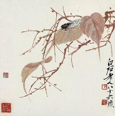 A cicada on a leaf, ink painting by Qi Baishi (1864 - 1957)
