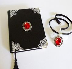of two leather witch notebook and black leather necklace with glass pearl on antiqued silver base, made from genuine leather. Leather Notebook, Leather Journal, Pendant Set, Pearl Pendant, Leather Gifts, Handmade Leather, Leather Bags, Leather Photo Albums, Leather Diary