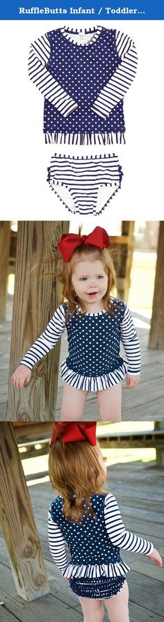 3ac4c1738fee8 RuffleButts Infant / Toddler Girls Navy Striped Polka Long Sleeve Rash  Guard Bikini - Blue -