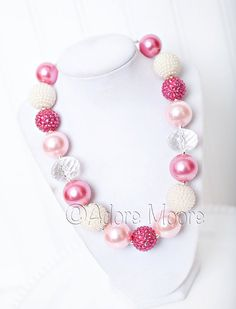 Valentine Shades of Pink, Valentines Necklace, Chunky Valentine Necklace, Chunky Bead Necklace, Kids Necklace on Etsy, $22.00