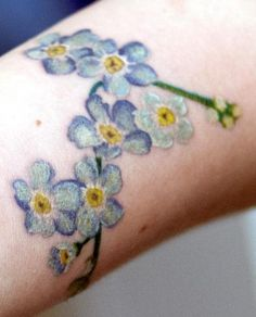 Colour Realism Forget-me-not Tattoo by Marie Melou, Kingsland...