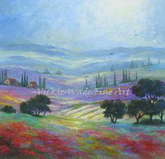 Tuscany champs huile originale peinture art 24 X 24 paysage Italie campagne toile art pariétal, Vickie Wade