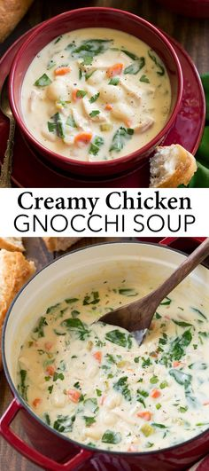 Chicken and Gnocchi Soup - this is the coziest way to warm up this season! It's filled with lots of potato gnocchi dumplings, tender pieces of chicken, fresh colorful veggies (like spinach and carrots) and it's all bathing in a rich and creamy broth Chicken And Gnocci, Spinach Stuffed Chicken, Soup Recipes With Chicken, Olive Garden Chicken Gnocchi Soup Recipe, Creamy Chicken, Fried Chicken, Dumplings For Soup, Chicken And Dumplings, Gnocchi Recipes