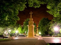 City park at night, Pancevo, Serbia