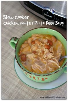 Slow Cooker Chicken, White Bean and Pinto Bean Soup - 365 Days of Slow Cooking