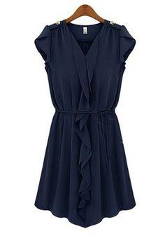 Sapphire Blue Belt V-neck Mini Chiffon Dress