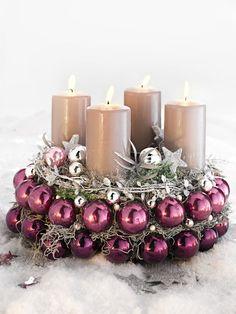 objets deco noel couronne de l avent bougies perles