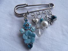 Vintage, turquoise flower kilt pin brooch.
