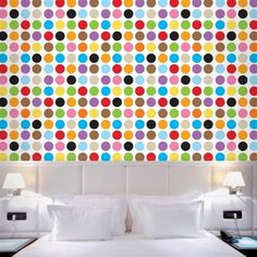 Polka dots you've gotta love them especially when they come in the form of reusable wallpaper you can easily put on and take off when you want a change! Discover more kids room decorating and organizing tips and ideas @ http://kidsroomdecorating.net
