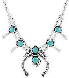 American West Sterling Silver Turquoise Squash Blossom Necklace