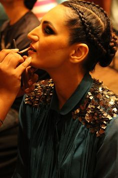 A #backstage appearance at the Shantanu & Nikhil AW 2014-2015 Couture Show while the models gear up to be caparisoned in #snncouture #ShantanuNikhil #CoutureAW1415 #Bespokeshow