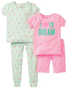 Carters Baby Girls 4 Piece Striped Cotton Set Baby  Dream  12 Months -- Learn more by visiting the image link.