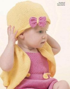 Baby knitting set for a dress, cardi and hat Knitting Socks, Knitting Stitches, Free Knitting, Knit Baby Dress, Baby Cardigan, Baby Dress Patterns, Baby Knitting Patterns, Knitted Baby Blankets, Knitted Hats