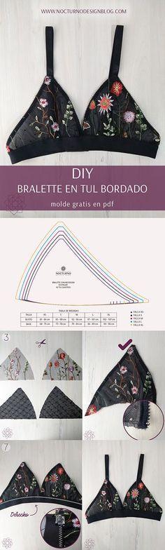 Costura fácil: Bralette en tul bordado + molde gratis - Home Decor Ideas Kleidung Design, Diy Kleidung, Diy Clothing, Sewing Clothes, Fashion Sewing, Diy Fashion, Diy Bralette, Bralette Pattern, Costura Fashion