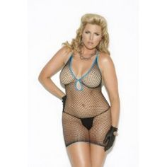 Diamond Net Mini Dress Black Queen Elegant Moments Lingerie Diamond Net Mini Dress Black with blue trim. Halter style dress. One size queen, plus sizes. Please note shown with panty, gloves, not included. $14.37