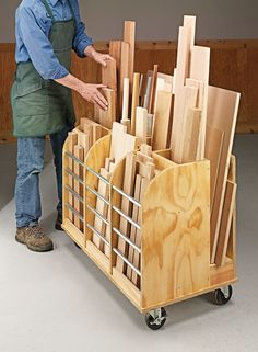 1600 wood plans - DIY Mobile Cutoff Bin - handy cart provides a home for all those cutoffs that are too good to throw away. Woodworking Drawings - Get A Lifetime Of Project Ideas and Inspiration! Workshop Storage, Workshop Organization, Garage Workshop, Garage Organization, Workshop Ideas, Organization Ideas, Wood Workshop, Workshop Design, Teds Woodworking