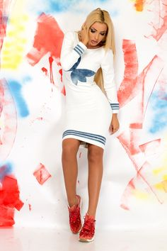 Ocassion Dancer White Dress, form-fitting, long sleeves, back zipper fastening… White Long Sleeve Dress, White Dress, Denim Fabric, Dress Form, Dress For You, Daily Wear, Peplum Dress, Your Style, Dancer