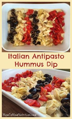 Simple and colorful ingredients come together to make the easiest Italian Antipasto Hummus Dip. Perfect for any occasion and ready in minutes! Healthy Side Dishes, Healthy Snacks, Healthy Recipes, Great Recipes, Favorite Recipes, Fall Recipes, Yummy Recipes, Italian Antipasto