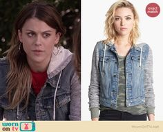 Paige's denim jacket with grey sleeves on Pretty Little Liars.  Outfit Details: http://wornontv.net/36405/ #PLL
