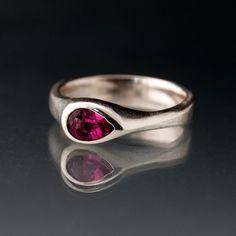 Tear Drop Pink Tourmaline Engagement Ring in by NodeformWeddings