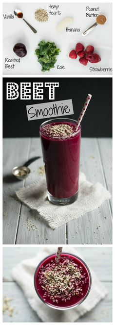 I'm in love with this beet smoothie! Its delicious, high in protein and has the perfect amount of sweetness to balance out the earthiness of the beets. - Feasting Not Fasting