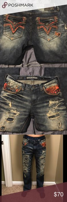Affliction men's jeans Gently worn Affliction men's jeans! These jeans are in great condition and are a relaxed fit! Size 33 long Affliction Jeans Relaxed