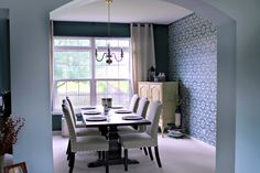 DIY Painted and Stenciled Dining Room Wall Makeover - Blue Designer Wallpaper Look created with Modern Moroccan Wall Stencils - Royal Design Studio