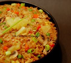 Pineapple Fried Rice: 1 can pineapple, 1/5 tsp salt, 1 eggs, 2 tbls vegetable oil, 3 cups cooked rice, 2 tbls light soy sauce, 1/2 cup peas, 2 green onions chopped