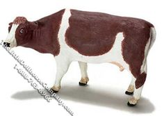 """This miniature brown and white cow is perfect for your farm dollhouse or miniature barn.  Dimensions: 6-1/8"""" long x 2"""" wide x 3-1/2"""" tall. Functionality: Fixed, not posable.  $16.00 http://www.thelittledollhousecompany.com/dollhouses-miniatures-furniture-kits/miniature-brown-white-cow-for-dollhouses-1/"""