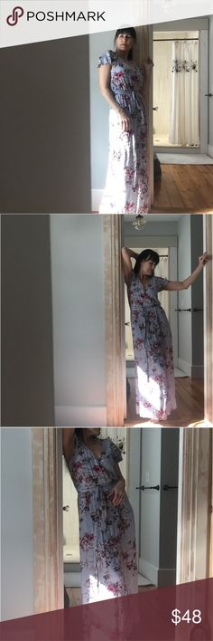 """🌷The prettiest floral maxi Summer dress! Blue base with flowers running rampant, elasticized waist with matching cloth belt, little snap closure at v of neck, flutter sleeves, short  blue slip beneath wrap bottom, 53"""" l one clothing Dresses Maxi"""
