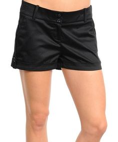 Another great find on #zulily! Black Sheen Cuffed Shorts by Buy in America #zulilyfinds