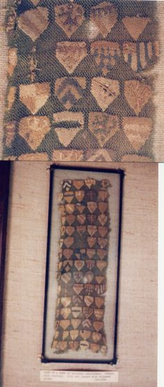 Part of a ? of heraldic embroidery. German, 14th century. Silk net darned with coloured silks. Photo by ClaredeCrecy.