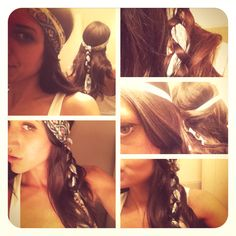DIY braid-in headband!   Thought of this last night while day dreaming about hippies.....   You'll Need:   - Long thin piece of Fabric or long scarf - Hair Tie - Four hands (Optional)  - Bobby Pins (Optional)  - Hair Spray (Optional)   1. Get a long, thin piece of fabric or a long scarf (about the length of your hair when folded in half).  2. Tie the scarf around head evenly and knot in back (optional). If you have a buddy helping you or you are skilled at braiding then do not make a knot…