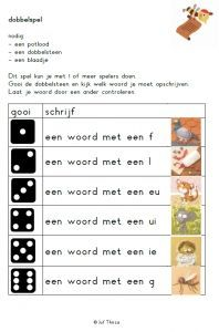 Dobbelspel - Jufthirza.nl Learn Dutch, Dutch Language, Becoming A Teacher, Speech Language Therapy, Teaching Activities, New School Year, Learning Through Play, Kids Writing, School Hacks