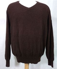b53486691e Faconnable Men Knit Sweater V Neck Alpaca Cotton Brown Long Sleeve Medium   Faconnable  VNeckPullover