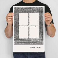 """Literary Art Print, """" George Orwell"""" Large Wall Art Posters, Literary Quote Poster, Illustration, Black and White Art, Literary Gift"""