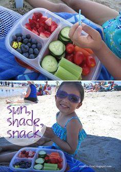 Beach trip? Bring healthy snacks packed in EasyLunchboxes.