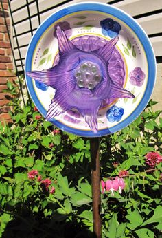 glass plate flowergarden suncatcher upcycled by Adelicatetouch1, $35.00