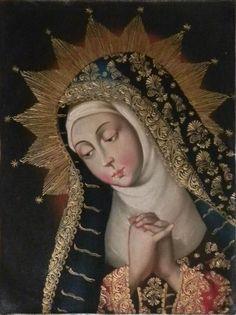 "12"" X 16"" Oil Painting Madonna Virgin Mary Peru Cuzco School Religious Colonial ie.picclick.com"