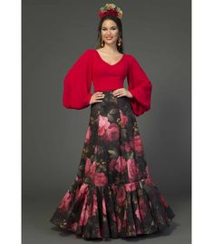 Flamenco Costume, Flamenco Skirt, African Fashion, Indian Fashion, Mexican Costume, Spanish Dress, Dress Indian Style, Beautiful Blouses, Skirt Fashion