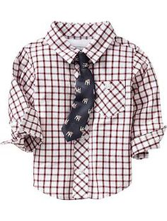 Plaid Shirt  Printed Tie Sets for Baby